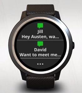 mensajes y llamadas al reloj vivoactive 3