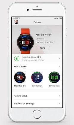 amazfit pace aplicación para móvil